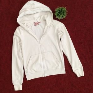 Juicy Couture White Velour ZIP up hoodie